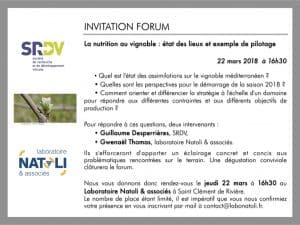Forum La nutrition au vignoble